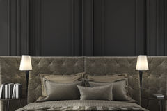 3d rendering close up classic bed in classic bedroom Royalty Free Stock Photo