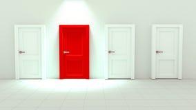3d Rendering of Close up Red Single Door among White Doors Stock Photos