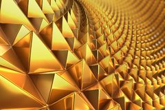 3d rendering close-up shot with of concept design of golden shiny metal pyramid pattern. 3d rendering close-up shot with of concept design of golden shiny metal Stock Photos