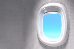 3d rendering close-up shot of white open airplane window with co. Py space on blue sky background with clipping path Royalty Free Stock Image