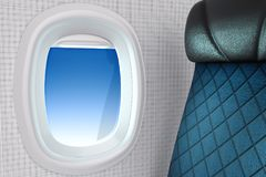 3d rendering close-up shot of white open airplane window with a. Passenger seat on blue sky background with clipping path Stock Image