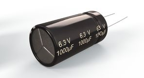 3D rendering - electrolytic capacitor. 3D rendering - closeup an electrolytic capacitor isolated on the white background Stock Photo