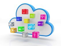 Cloud with Social Media Icons in white background. 3d render. 3d rendering Cloud computing concept, Cloud with Social Media Icons in white background Royalty Free Illustration