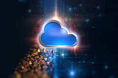 3d rendering of  Cloud computing system icon on   technology bac Royalty Free Stock Image