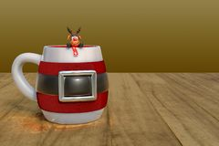 3d rendering of coffee time with a Christmas mug with small rein royalty free illustration