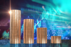 3d rendering of coin stacks on technology financial graph backgr. Ound Stock Images
