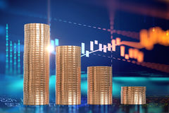 3d rendering of coin stacks on technology financial graph backgr. Ound Royalty Free Stock Image
