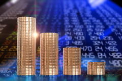 3d rendering of coin stacks on technology financial graph backgr. Ound Royalty Free Stock Photos