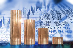 3d rendering of coin stacks on technology financial graph backgr. Ound Stock Photos