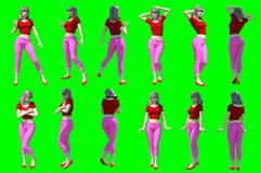 Collection of poses of young female figures stock illustration