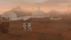 3D rendering. Colony on Mars. Two Astronauts Wearing Space Suit Walking On The Surface Of Mars
