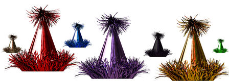 3d rendering of a color celebration hats on white Royalty Free Stock Photo