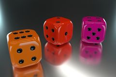 3D rendering. Color dices. Color dices, Various color. 3d rendering Stock Images