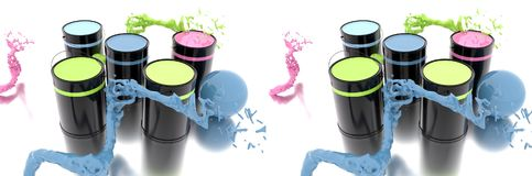 3D rendering. Colored cans. Splash Paint Stock Images