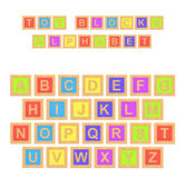 3d rendering of a colorful alphabet with a writing Toy Blocks Alphabet above all letters. Primary education. Kindergarten. Preschool learning Royalty Free Stock Images