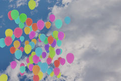 3D rendering of colorful balloons flying on  sky. 3D rendering of colorful balloons flying on the sky Stock Photography