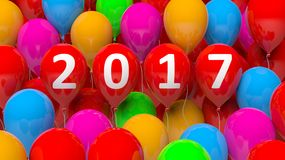 3D rendering of colorful balloons with 2017. New year Royalty Free Stock Images