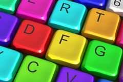 3d colorful keyboard. 3d rendering of a colorful computer keyboard. Concept of diversity Stock Illustration
