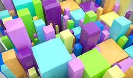 Colorful Cubes Background. 3D Rendering Of Colorful Cubes Background royalty free illustration