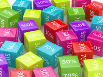 3D rendering of colorful cubes with discount sign. Over white royalty free illustration