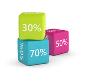 3D rendering of colorful cubes with discount sign and place for. Text over white stock illustration