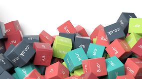3d rendering, colorful cubes with domain extensions Royalty Free Stock Photography