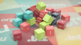 3D rendering of colorful cubes. With domain names, abstract background Royalty Free Stock Images