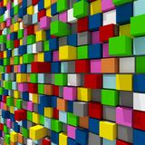 3d rendering of colorful cubic random level background. 3d rendering of acstract colorful cubic random level background Royalty Free Stock Photography
