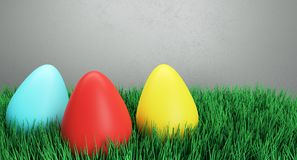 Colorful Easter Eggs On Green Grass. 3D Rendering Of Colorful Easter Eggs On Green Grass And Light Background Stock Photography