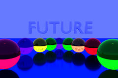 3D rendering of colorful glass balls on reflective surface and the English word FUTURE Royalty Free Stock Photography
