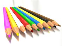 3d rendering colorful pencils. Royalty Free Stock Images