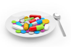 3d rendering - colorful tablets, pills, capsules - medicament Stock Images