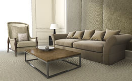 3d rendering comfortable armchair and sofa in living room Royalty Free Stock Image