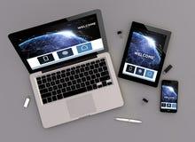 Responsive design communications website zenith view Stock Photos