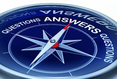 Answers. 3D rendering of a compass with the word answers Stock Photo
