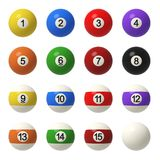 3d rendering of a complete set of billiard balls in front view with different colors and numbers. Billiard ball set. Solids and stripes. Recreational sport Stock Images