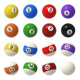 3d rendering of a complete set of billiard balls in front view with different colors and numbers. Billiard ball set. Solids and stripes. Recreational sport Royalty Free Stock Images