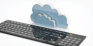 3d rendering computer cloud and black keyboard. On white background Royalty Free Stock Images