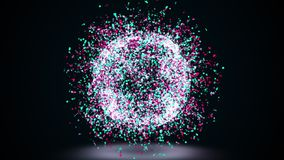 3d rendering, computer generated abstract sphere of golden shimmering particles on a black background