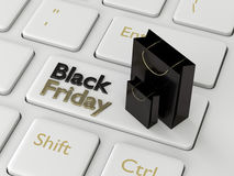 3d rendering of computer keyboard with black friday text Stock Image