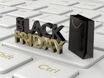 3d rendering of computer keyboard with black friday text Royalty Free Stock Photos
