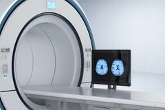 Monitor with mri scan. 3d rendering computer monitor display x-ray brain in mri lab vector illustration