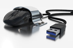 3D rendering of a computer mouse which is screwed with a metal holder Royalty Free Stock Photos