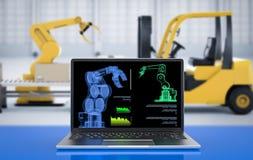 Computer notebook in factory. 3d rendering computer notebook control robot in factory stock images
