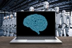 Notebook with ai brain. 3d rendering computer notebook control robot in factory Royalty Free Stock Images