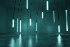 3d rendering of concrete cyan background with illuminated hanging led panels. Selective focus royalty free stock photos