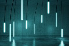 3d rendering of concrete cyan background with illuminated hanging led panels. Selective focus stock photo