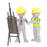 3D rendering of construction workers in hard hats Stock Photos
