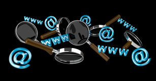 3D rendering contact icon and magnifying glass flying. On black background Stock Photography