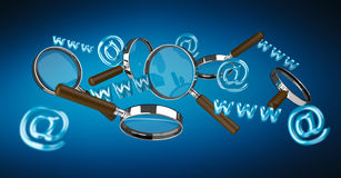 3D rendering contact icon and magnifying glass flying. On blue background Stock Photo